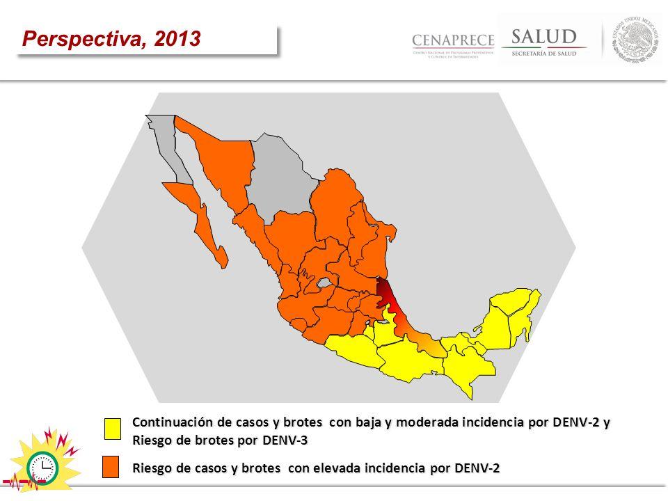 Perspectiva, 2013 DENV-3. 2. Continuación de casos y brotes con baja y moderada incidencia por DENV-2 y Riesgo de brotes por DENV-3.