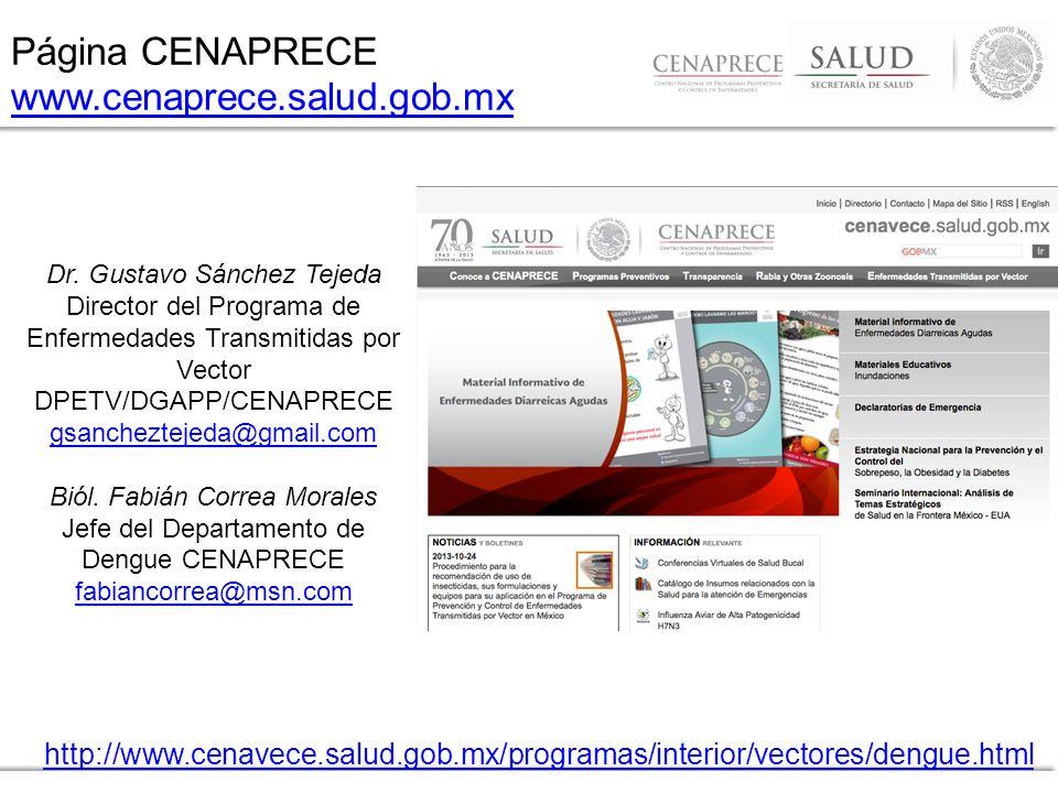 Página CENAPRECE www.cenaprece.salud.gob.mx