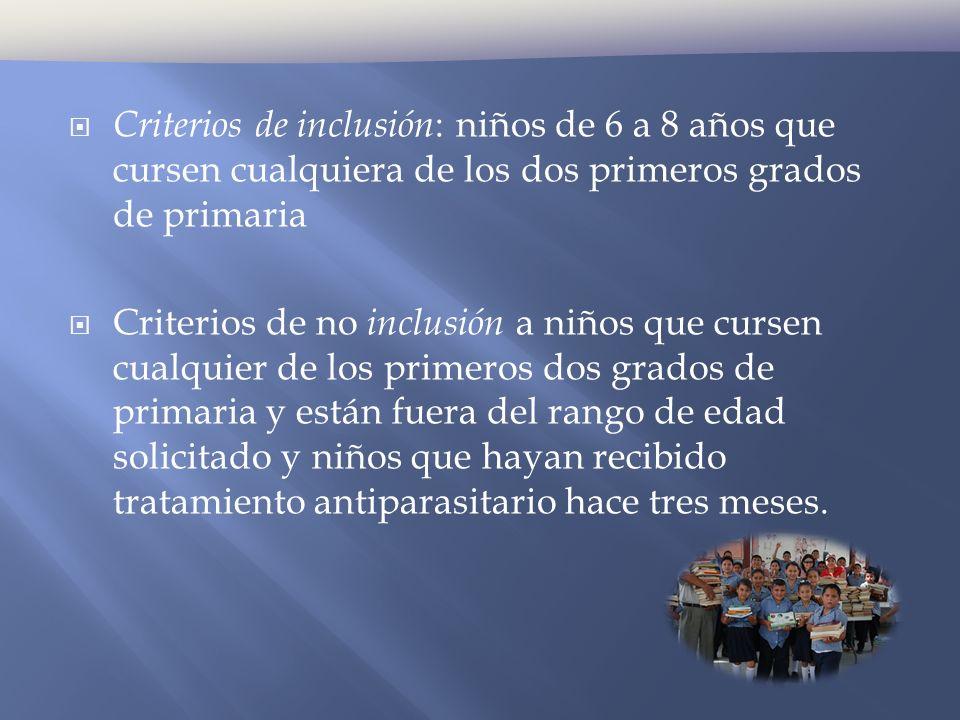 Criterios de inclusión: niños de 6 a 8 años que cursen cualquiera de los dos primeros grados de primaria
