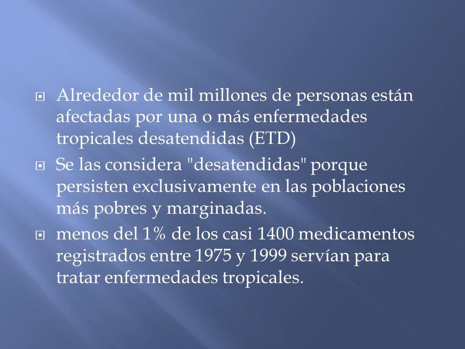 Alrededor de mil millones de personas están afectadas por una o más enfermedades tropicales desatendidas (ETD)
