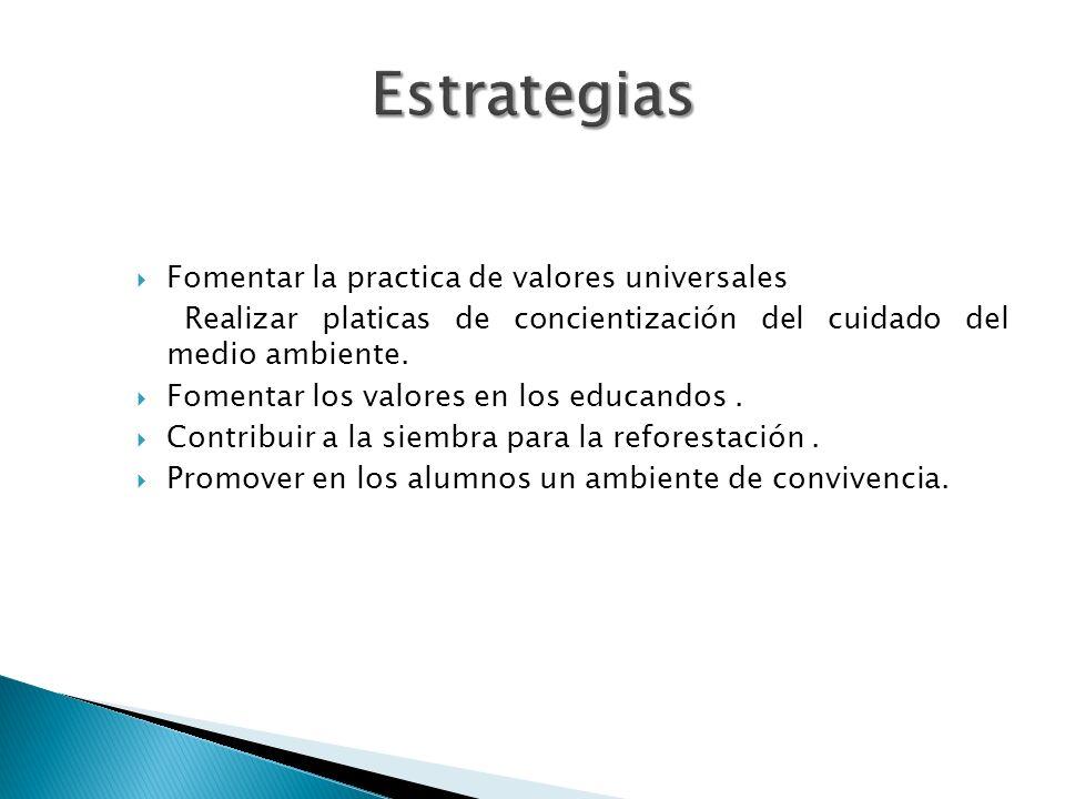 Estrategias Fomentar la practica de valores universales