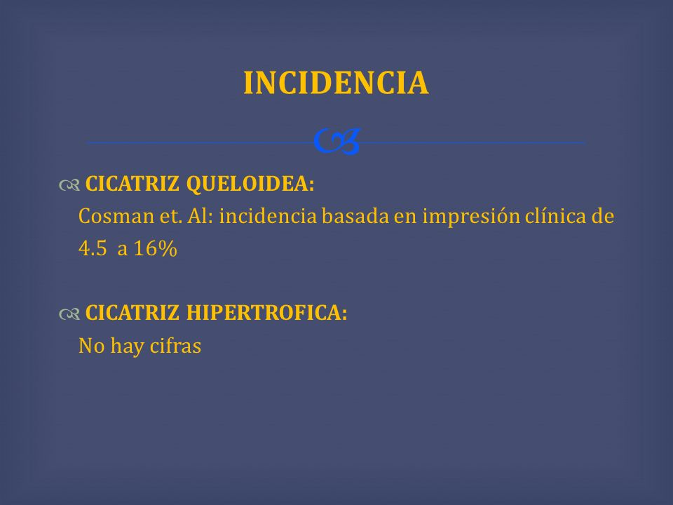 INCIDENCIA CICATRIZ QUELOIDEA:
