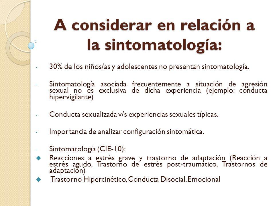A considerar en relación a la sintomatología: