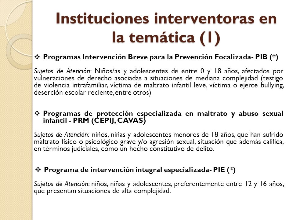 Instituciones interventoras en la temática (1)