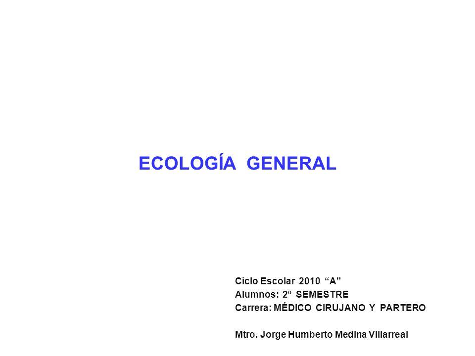 ECOLOGÍA GENERAL Ciclo Escolar 2010 A Alumnos: 2º SEMESTRE