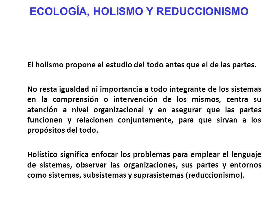 ECOLOGÍA, HOLISMO Y REDUCCIONISMO