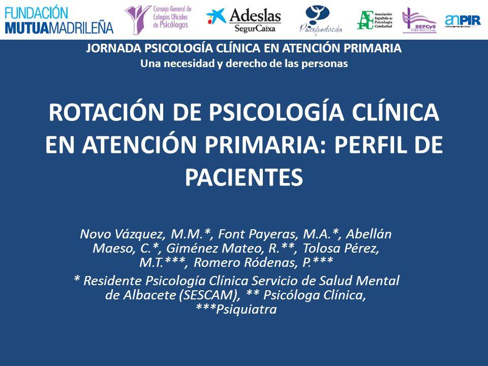 ROTACIÓN DE PSICOLOGÍA CLÍNICA EN ATENCIÓN PRIMARIA: PERFIL DE PACIENTES