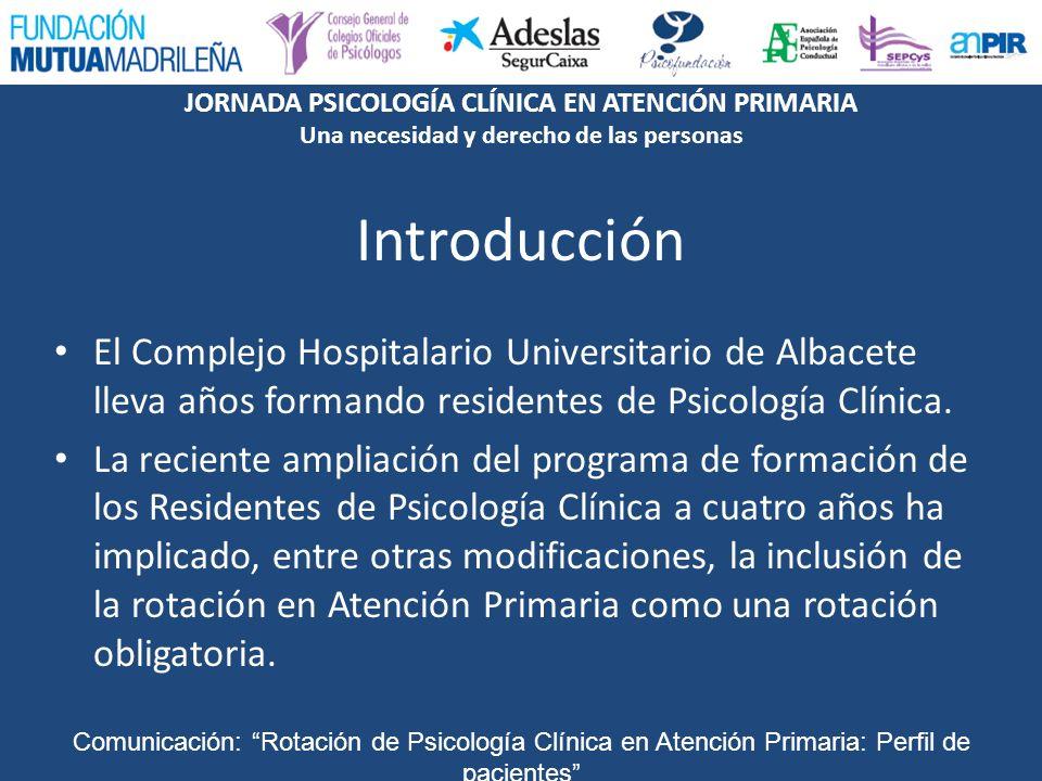 Introducción El Complejo Hospitalario Universitario de Albacete lleva años formando residentes de Psicología Clínica.