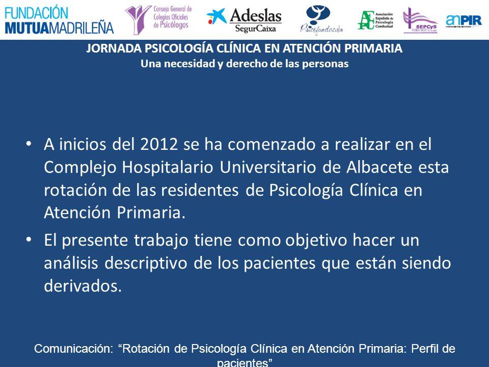 A inicios del 2012 se ha comenzado a realizar en el Complejo Hospitalario Universitario de Albacete esta rotación de las residentes de Psicología Clínica en Atención Primaria.