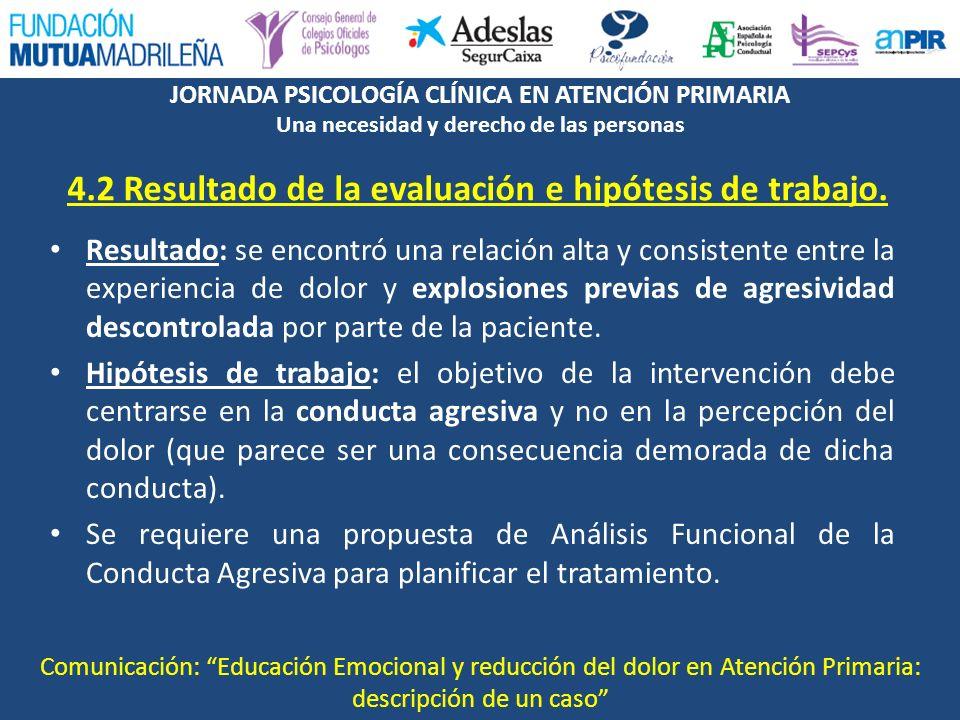 4.2 Resultado de la evaluación e hipótesis de trabajo.