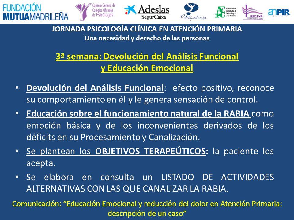 3ª semana: Devolución del Análisis Funcional y Educación Emocional
