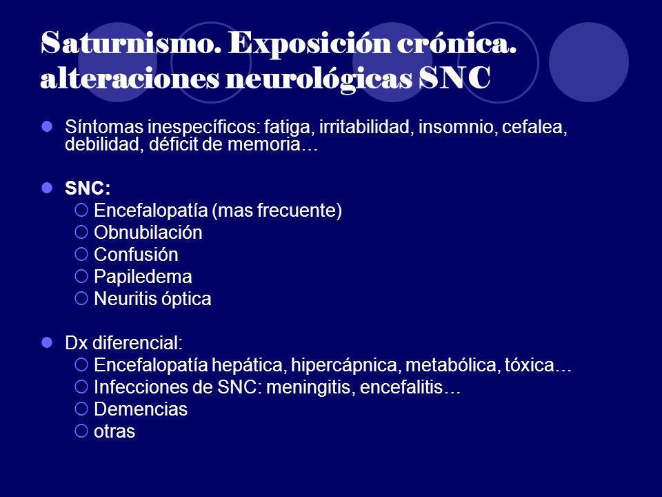 Saturnismo. Exposición crónica. alteraciones neurológicas SNC