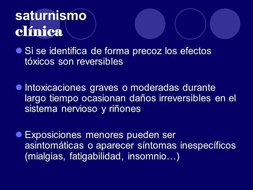 saturnismo clínica Si se identifica de forma precoz los efectos tóxicos son reversibles.