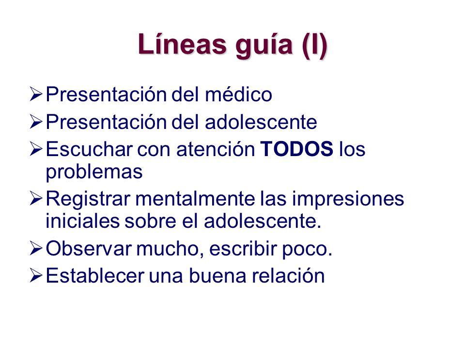 Líneas guía (I) Presentación del médico Presentación del adolescente