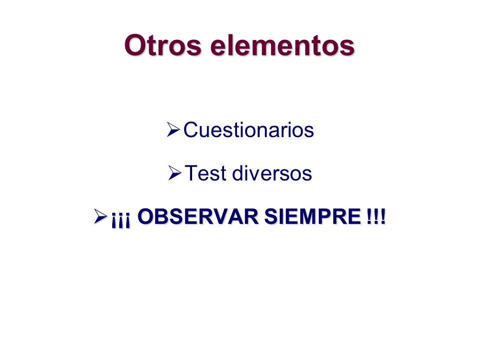 Otros elementos Cuestionarios Test diversos ¡¡¡ OBSERVAR SIEMPRE !!!
