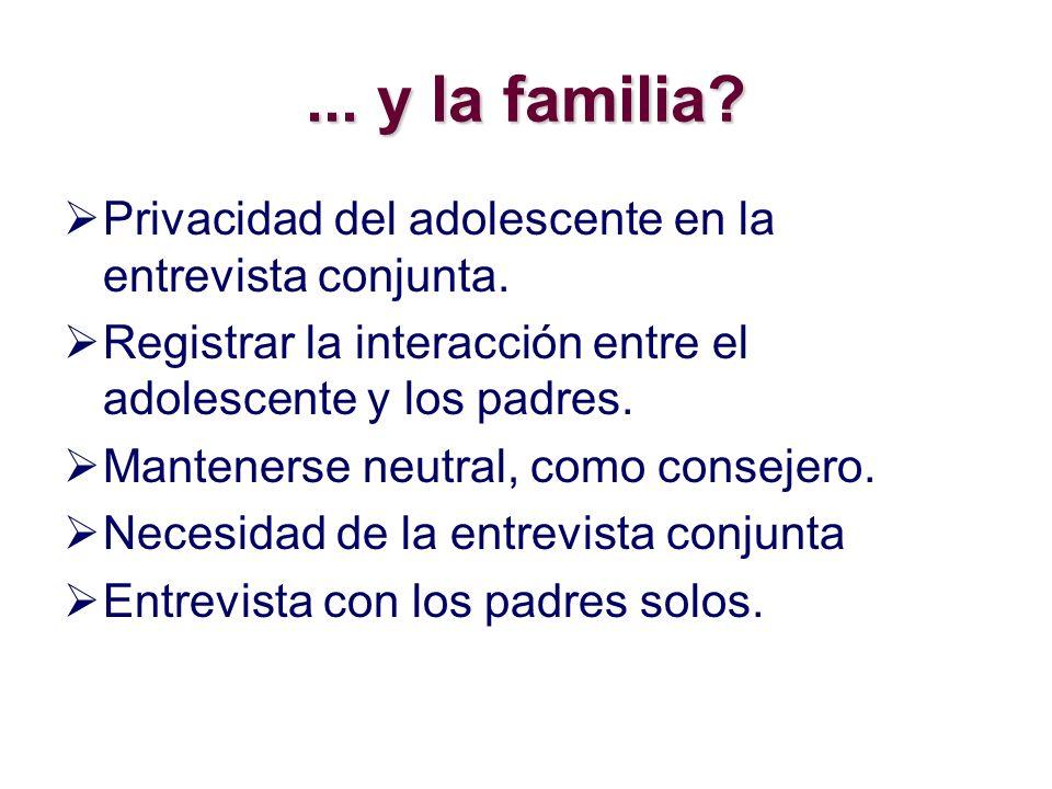 ... y la familia Privacidad del adolescente en la entrevista conjunta. Registrar la interacción entre el adolescente y los padres.
