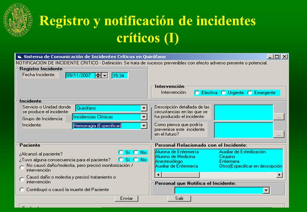 Registro y notificación de incidentes críticos (I)