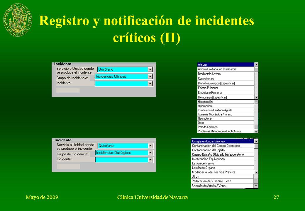 Registro y notificación de incidentes críticos (II)