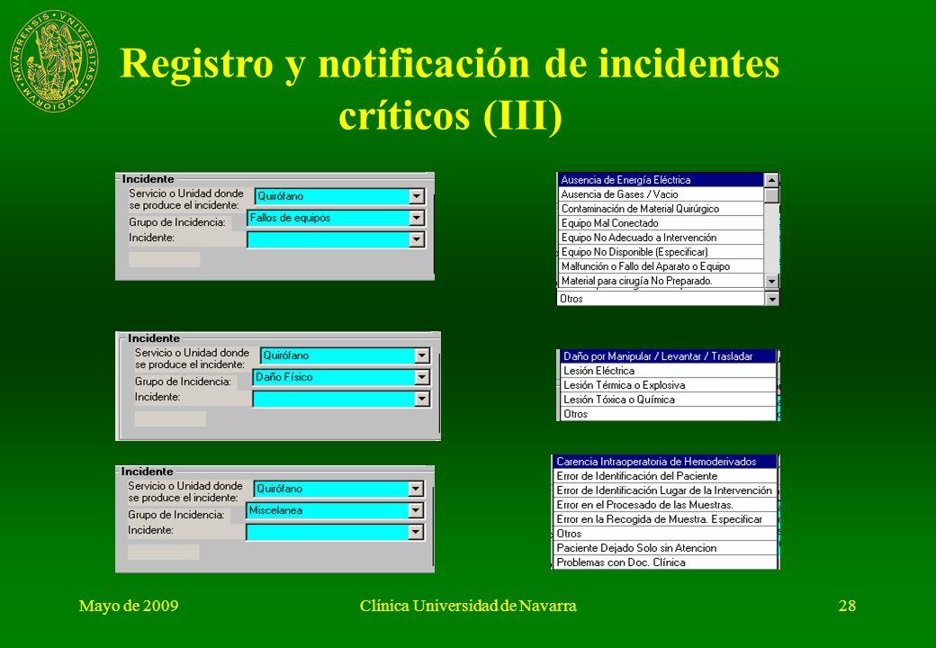 Registro y notificación de incidentes críticos (III)