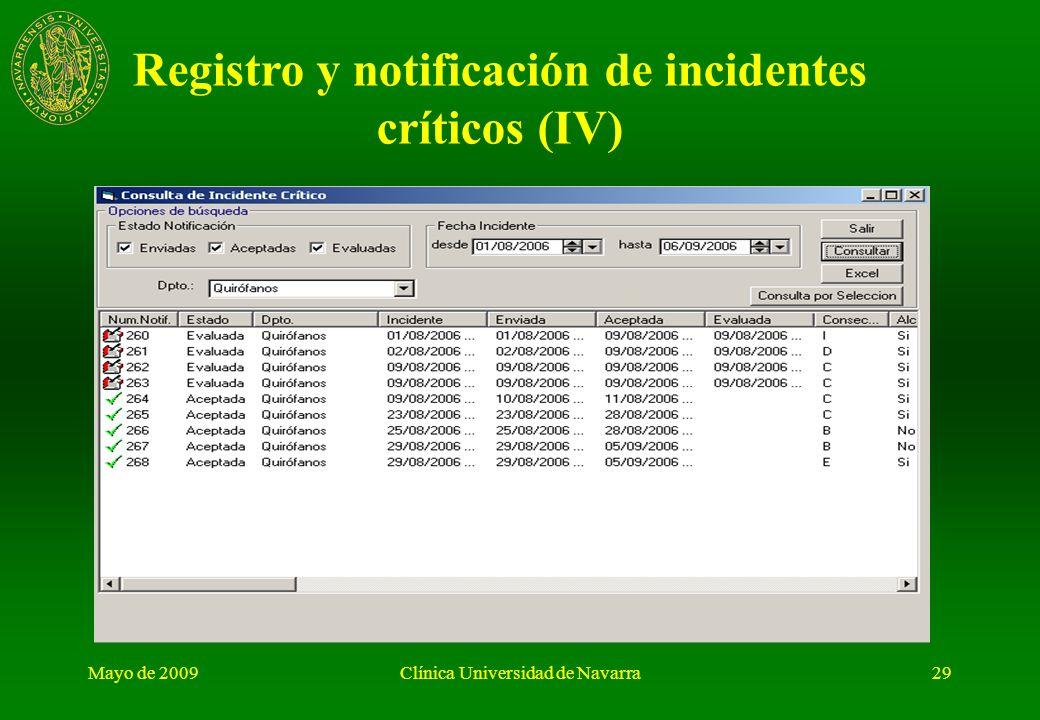 Registro y notificación de incidentes críticos (IV)
