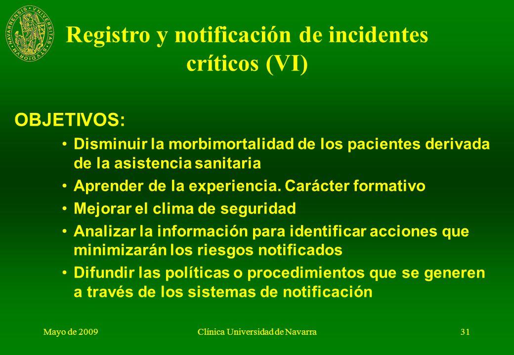 Registro y notificación de incidentes críticos (VI)