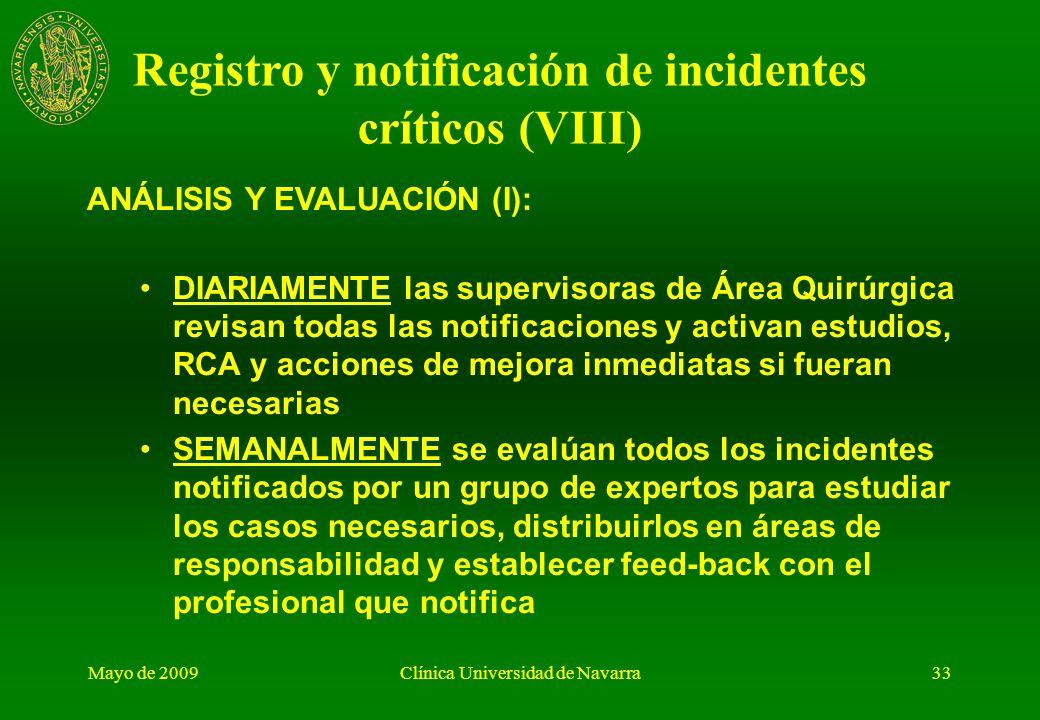 Registro y notificación de incidentes críticos (VIII)