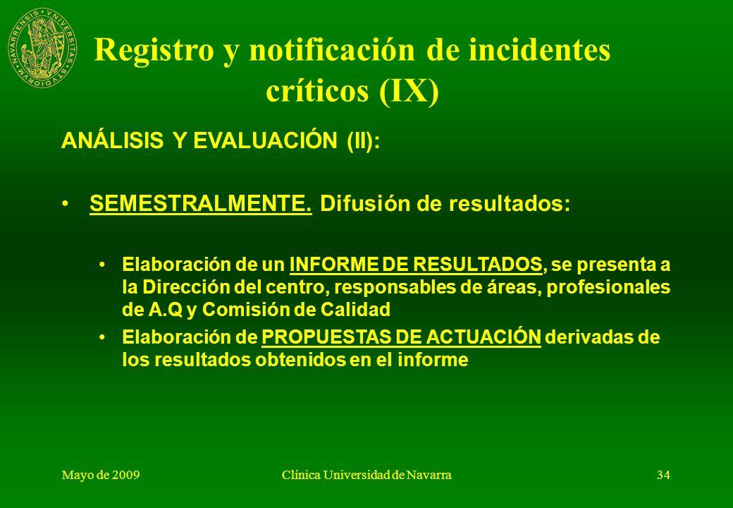 Registro y notificación de incidentes críticos (IX)