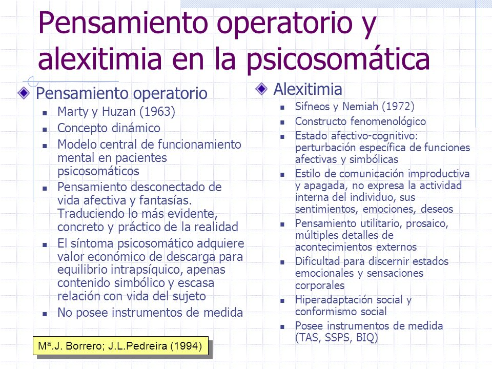 Pensamiento operatorio y alexitimia en la psicosomática