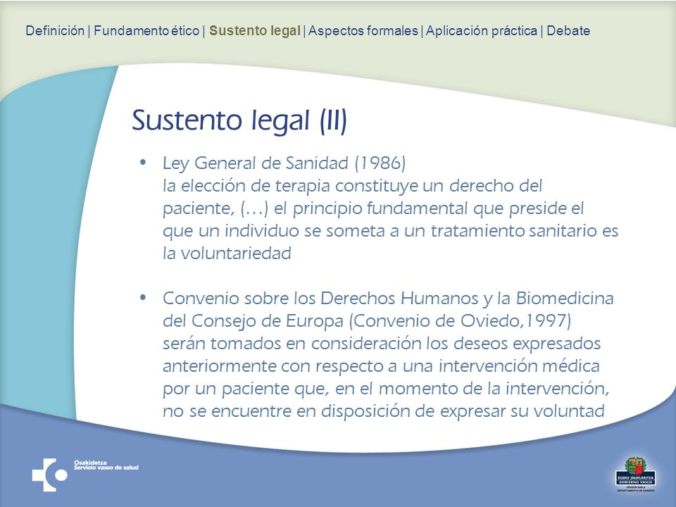 Sustento legal (II) Ley General de Sanidad (1986)