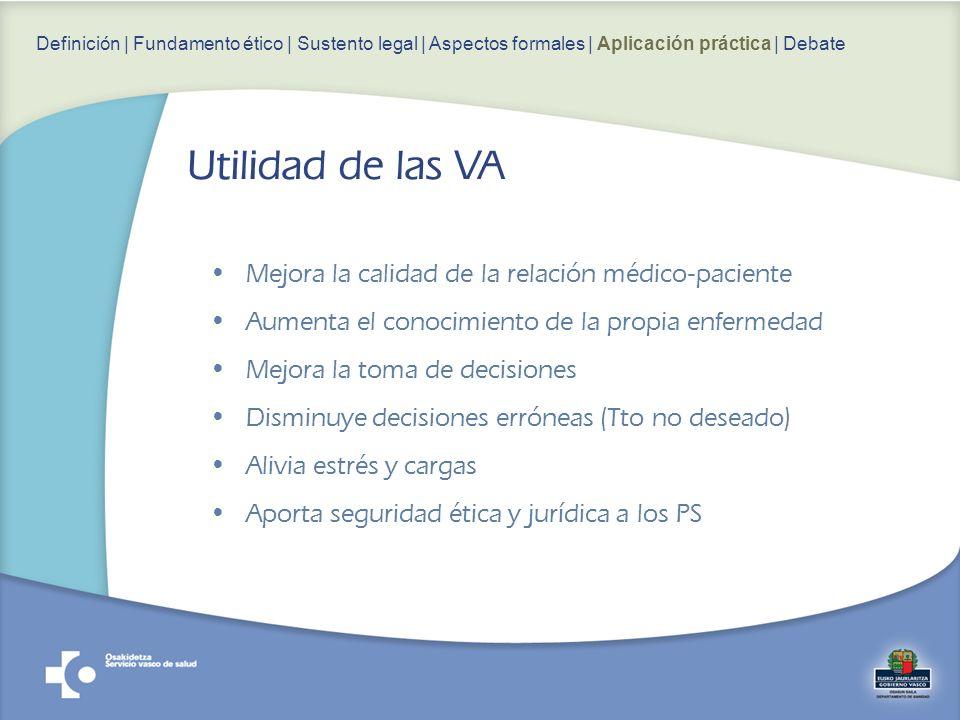 Utilidad de las VA Mejora la calidad de la relación médico-paciente