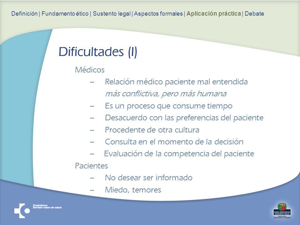 Dificultades (I) Médicos Relación médico paciente mal entendida