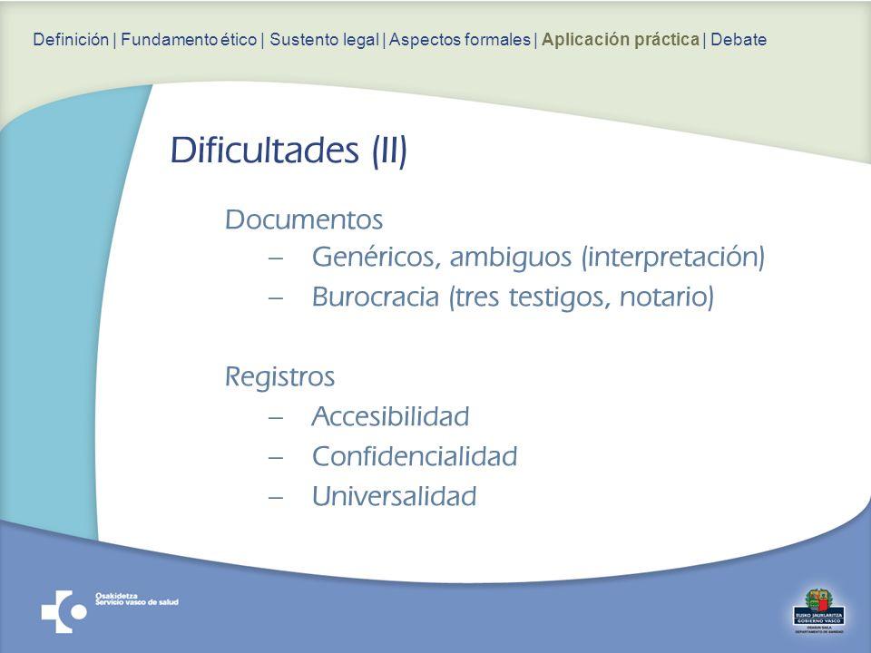 Dificultades (II) Documentos Genéricos, ambiguos (interpretación)