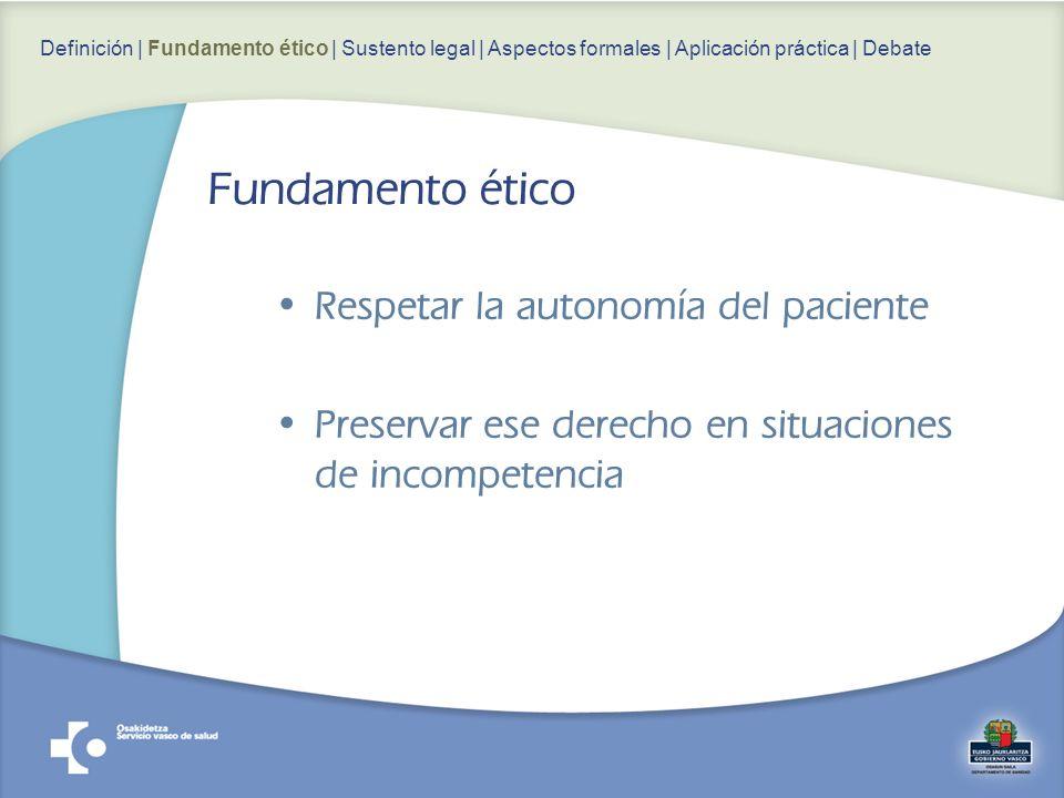 Fundamento ético Respetar la autonomía del paciente