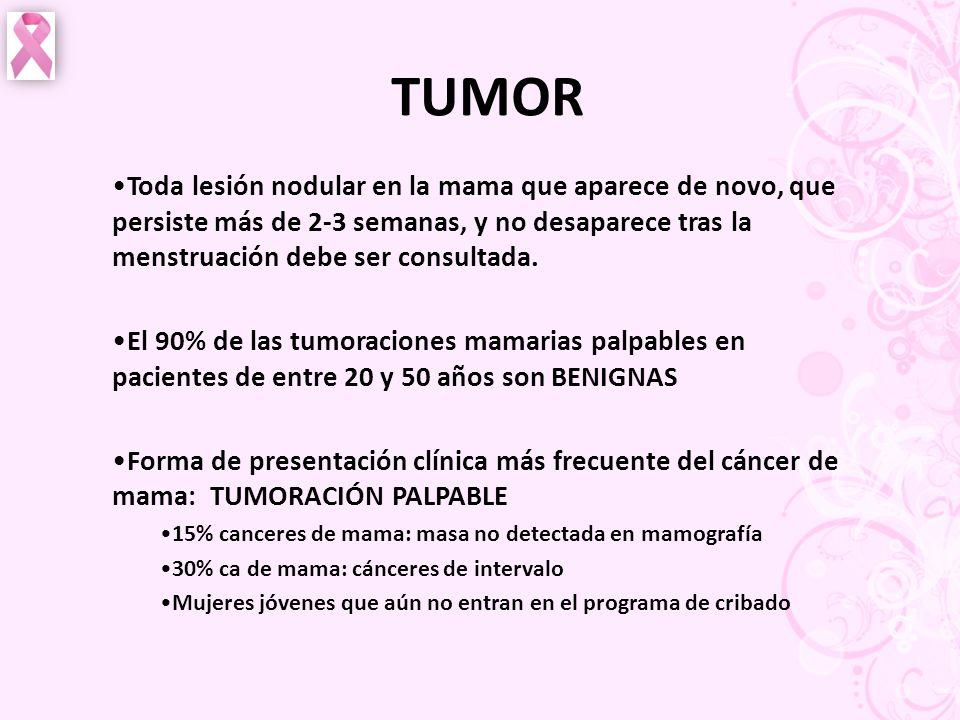 TUMOR Toda lesión nodular en la mama que aparece de novo, que persiste más de 2-3 semanas, y no desaparece tras la menstruación debe ser consultada.