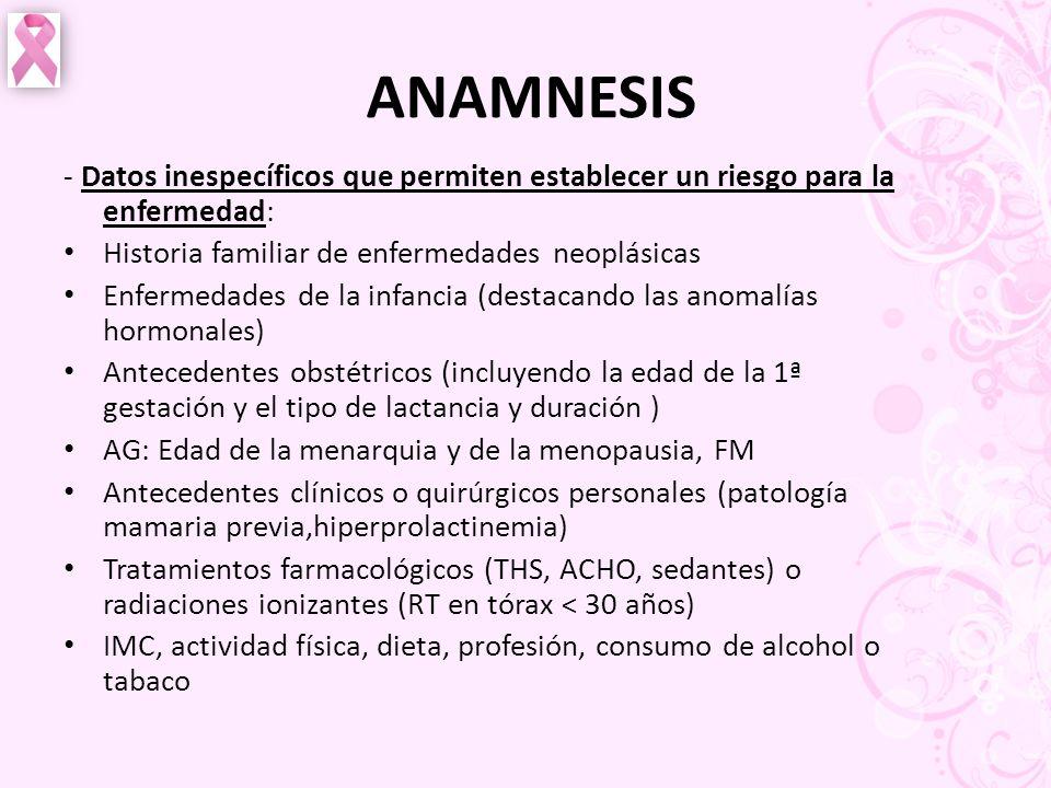 ANAMNESIS - Datos inespecíficos que permiten establecer un riesgo para la enfermedad: Historia familiar de enfermedades neoplásicas.