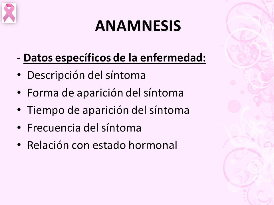 ANAMNESIS - Datos específicos de la enfermedad: