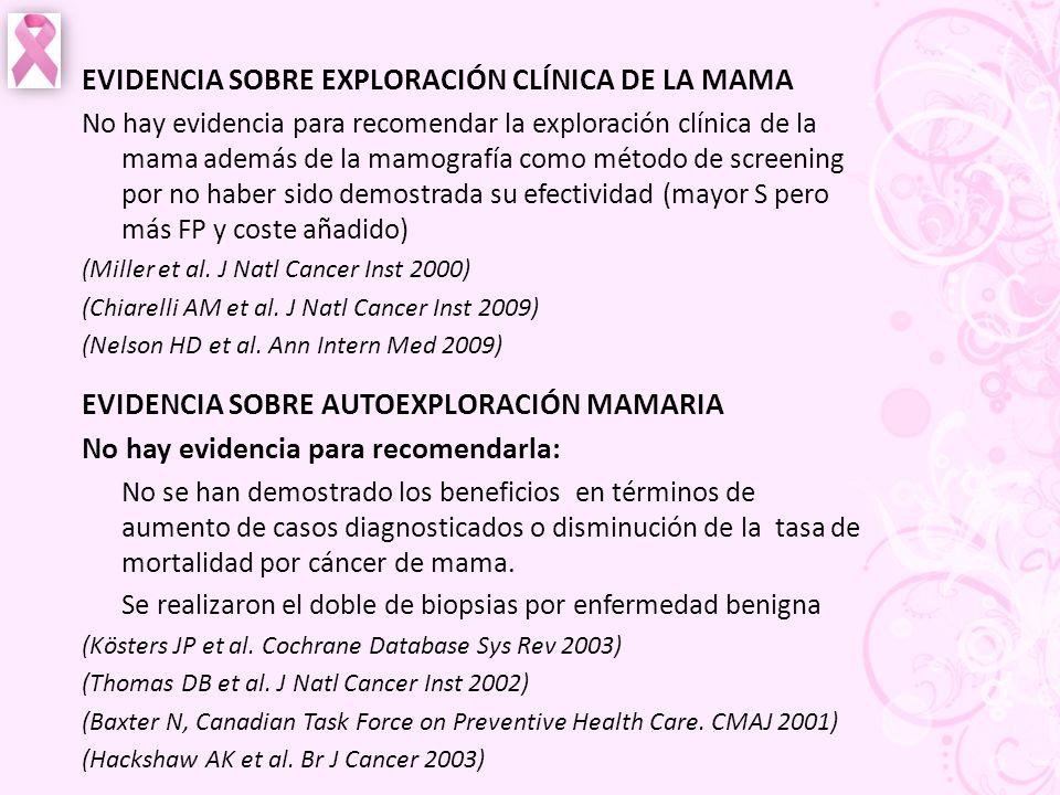 EVIDENCIA SOBRE EXPLORACIÓN CLÍNICA DE LA MAMA