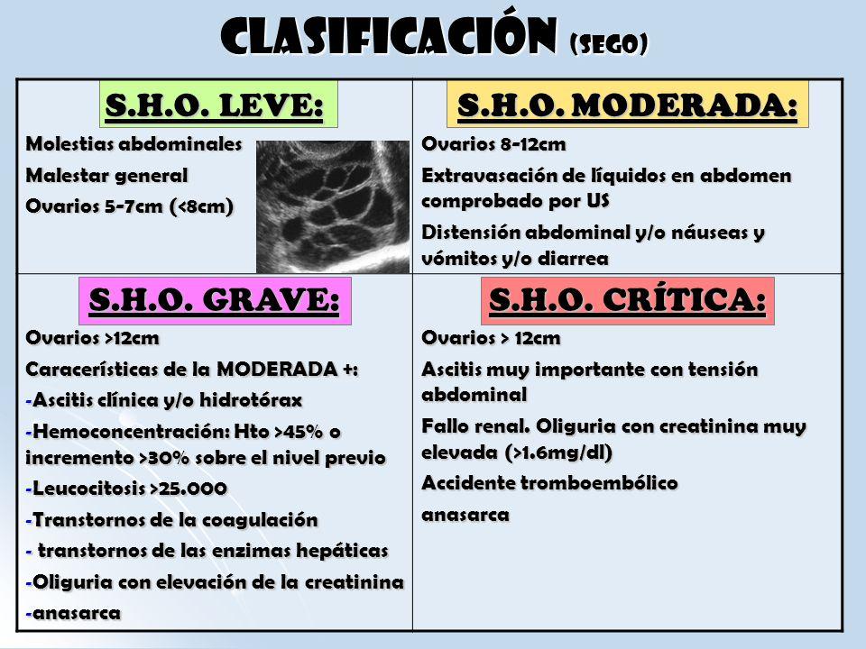CLASIFICACIÓN (SEGO) S.H.O. LEVE: S.H.O. MODERADA: S.H.O. GRAVE: