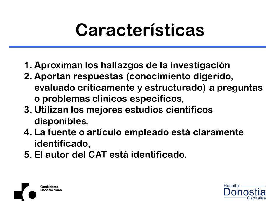 Características Aproximan los hallazgos de la investigación