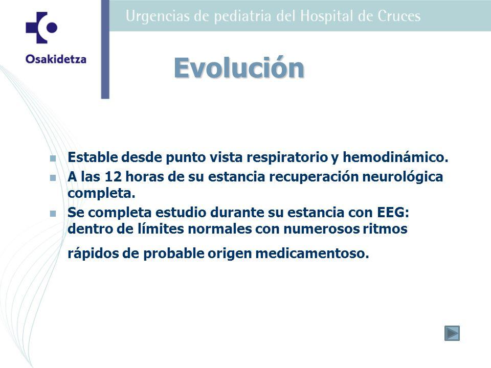 Evolución Estable desde punto vista respiratorio y hemodinámico.