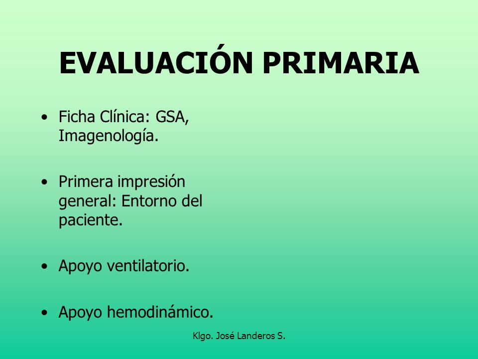 EVALUACIÓN PRIMARIA Ficha Clínica: GSA, Imagenología.