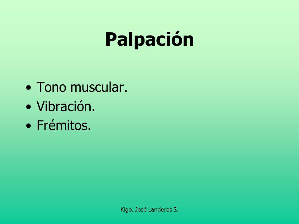 Palpación Tono muscular. Vibración. Frémitos. Klgo. José Landeros S.