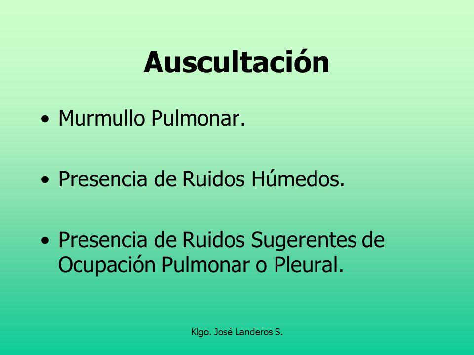Auscultación Murmullo Pulmonar. Presencia de Ruidos Húmedos.