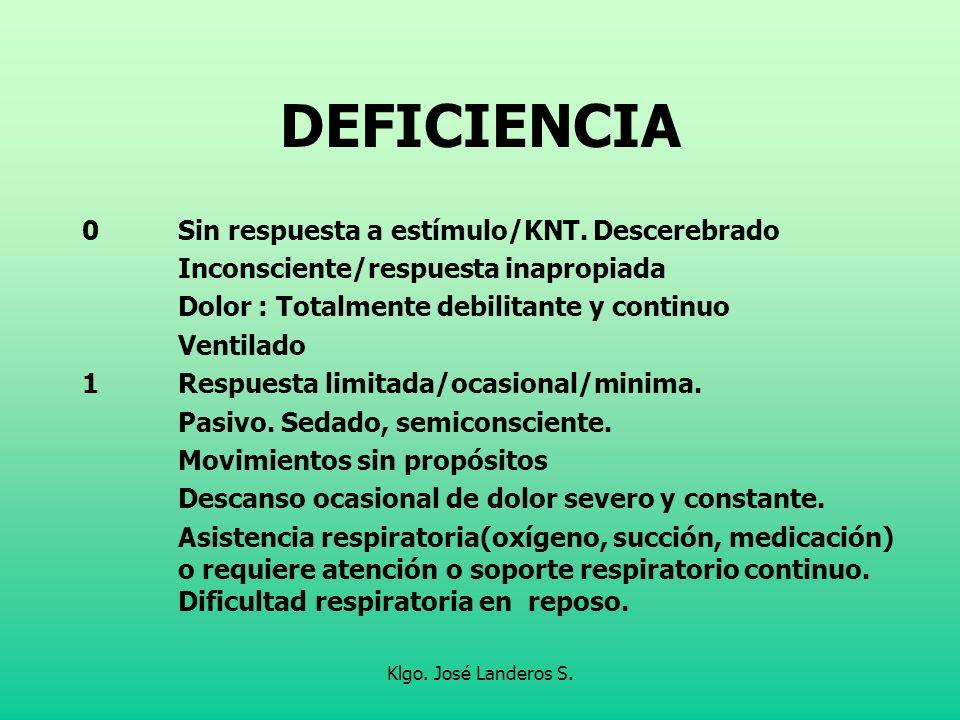 DEFICIENCIA 0 Sin respuesta a estímulo/KNT. Descerebrado