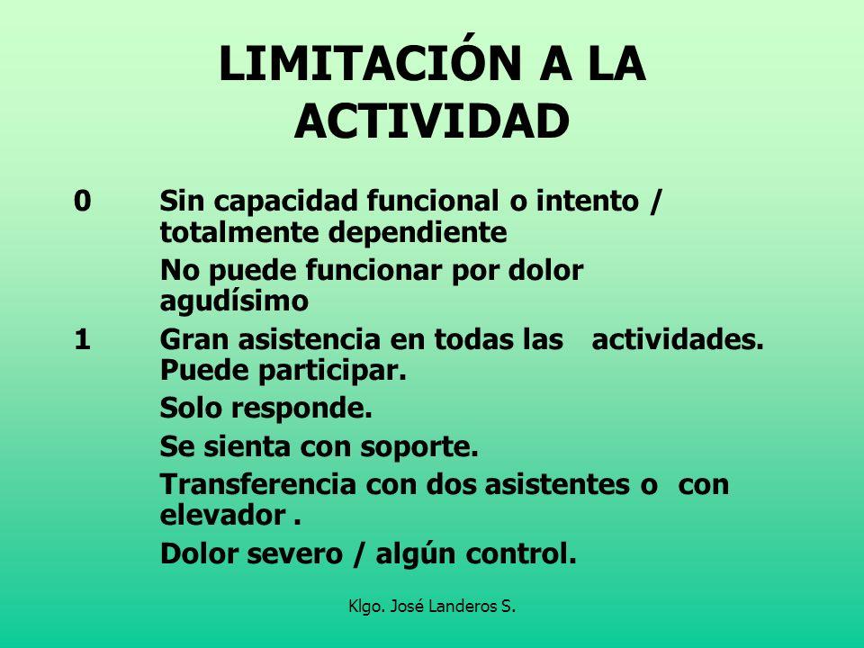 LIMITACIÓN A LA ACTIVIDAD