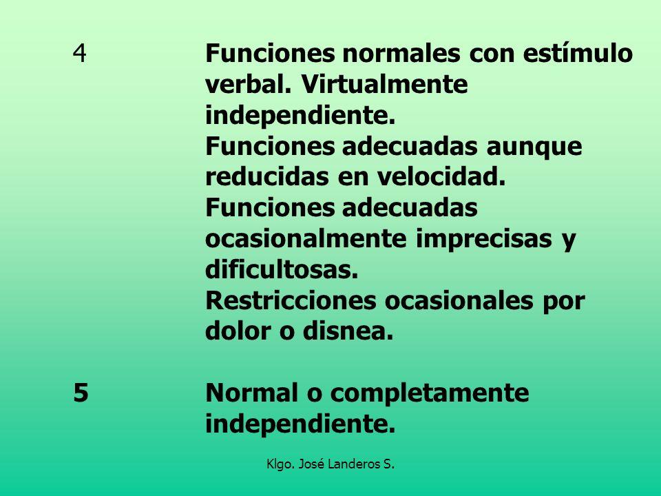 4 Funciones normales con estímulo verbal. Virtualmente independiente.