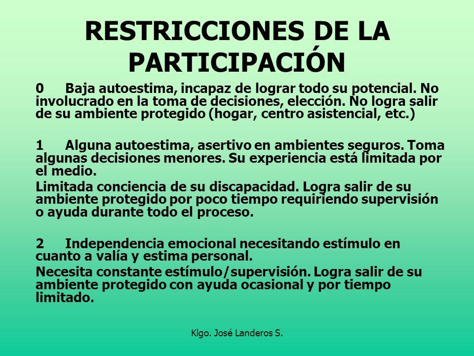 RESTRICCIONES DE LA PARTICIPACIÓN