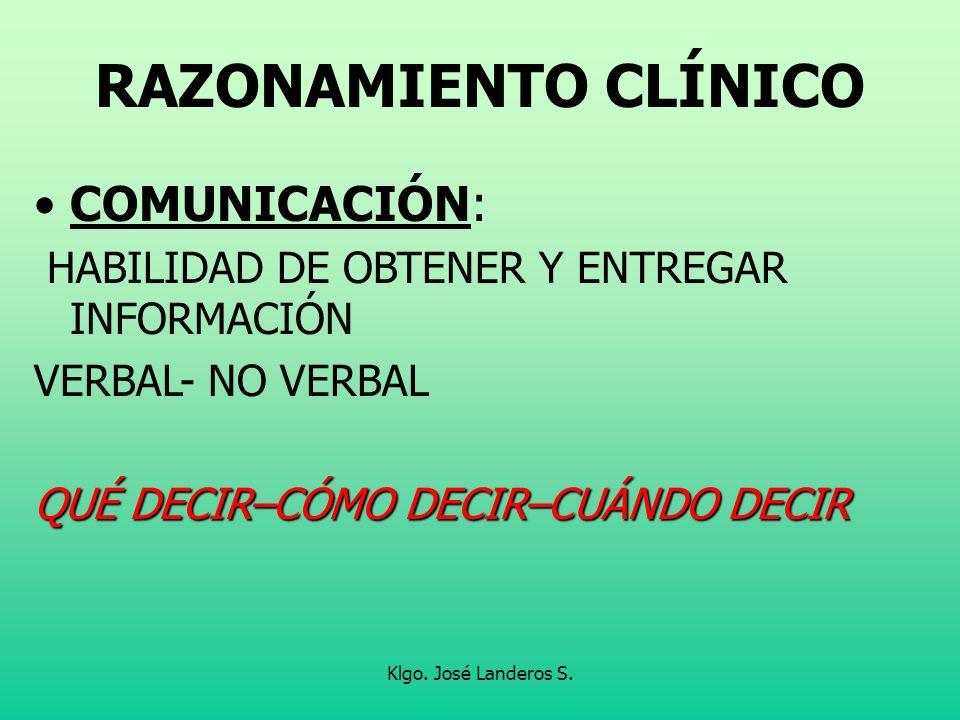 RAZONAMIENTO CLÍNICO COMUNICACIÓN: