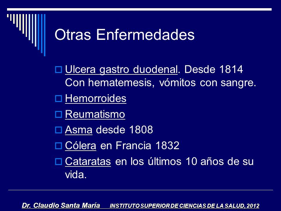 Otras Enfermedades Ulcera gastro duodenal. Desde 1814 Con hematemesis, vómitos con sangre. Hemorroides.