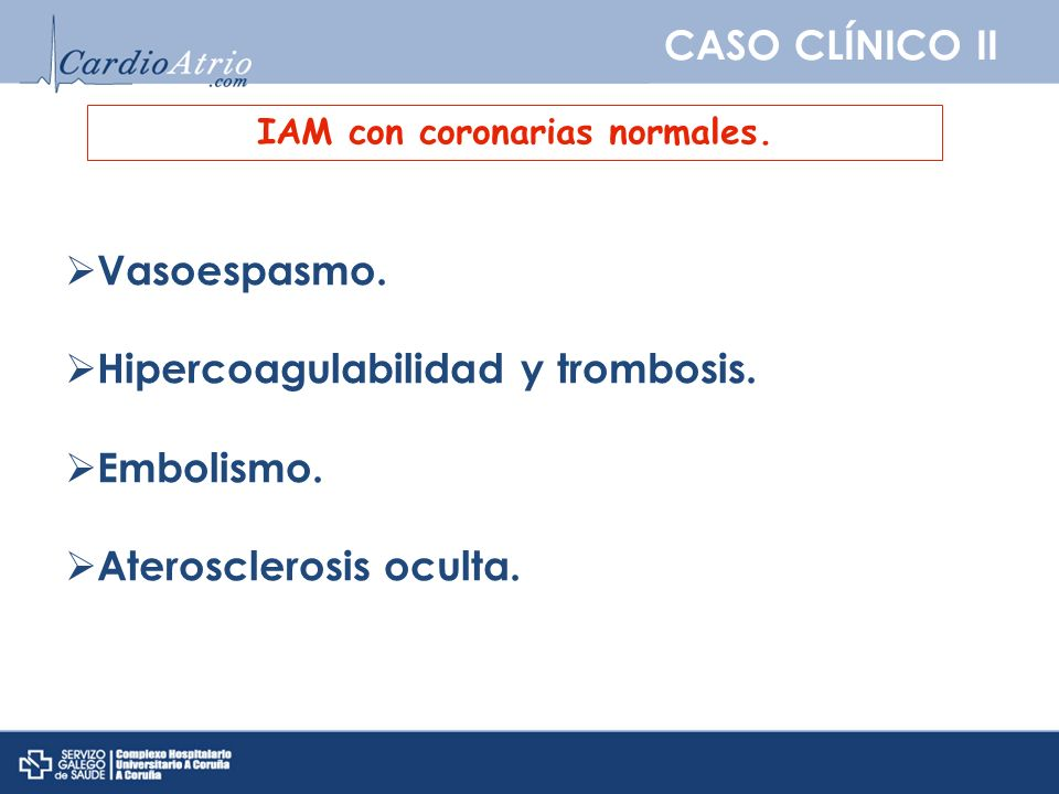 IAM con coronarias normales.